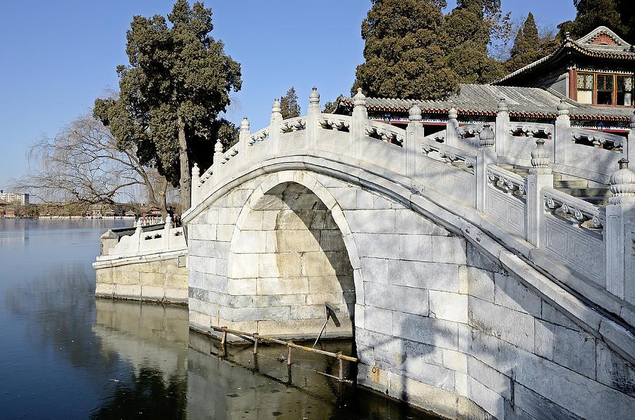 Beihai Photograph - Arched Bridge In Beihai Park - Beijing China by Brendan Reals