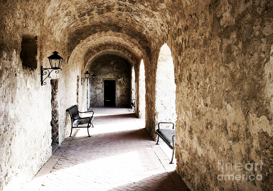 Arch Photograph - Arches And Light In Stone Hall by Lincoln Rogers
