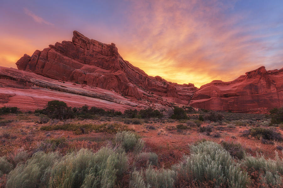 Sunset Photograph - Arches Fire In The Sky by Darren  White