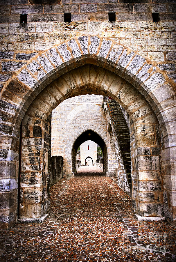 Town Photograph - Arches Of Valentre Bridge In Cahors France by Elena Elisseeva