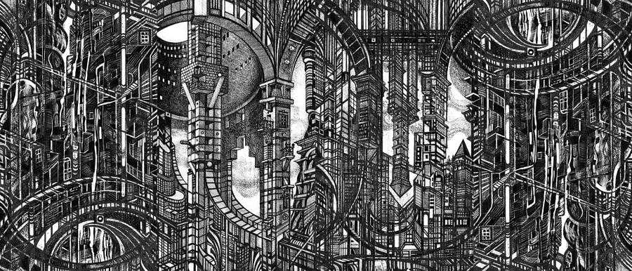 Buildings Drawing - Architectural Utopia 4 Fragment by Serge Yudin