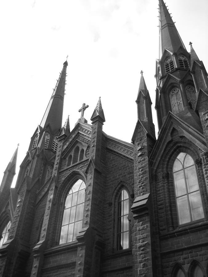 Vertical Photograph - architecture churches . Gothic Spires in Black and White  by Ann Powell