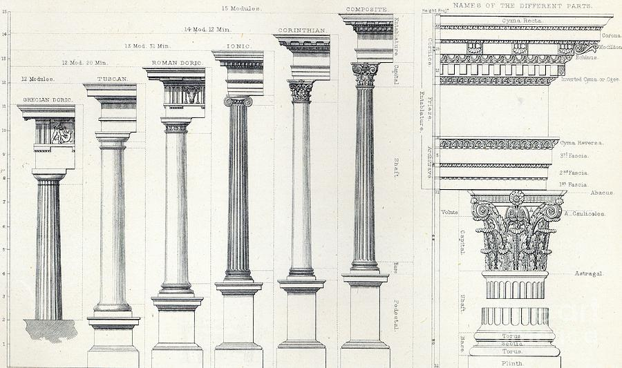 Engraving Drawing - Architecture I Orders Of Architecture Engraved By Charles Lawrie by  John Burley Waring