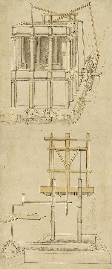 Leonardo Drawing - Architecture With Indoor Fountain From Atlantic Codex  by Leonardo Da Vinci