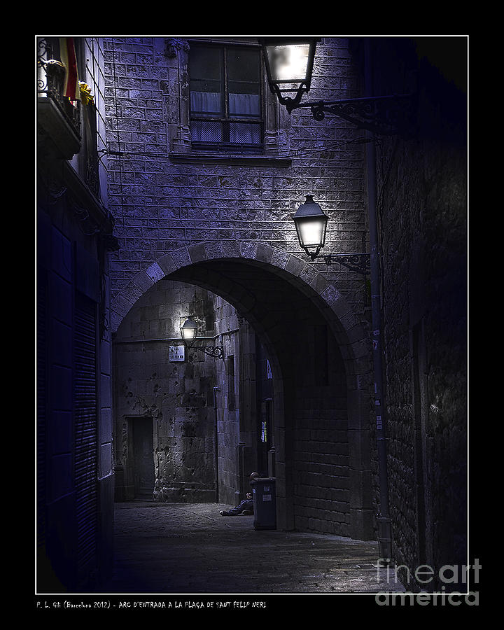 Barcelona Photograph - Archway To The Square Of St. Philip Neris by Pedro L Gili