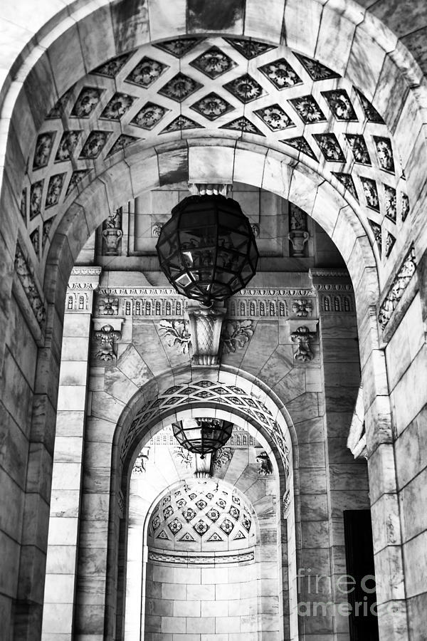 Archways To The Library Photograph - Archways At The Library Bw by John Rizzuto