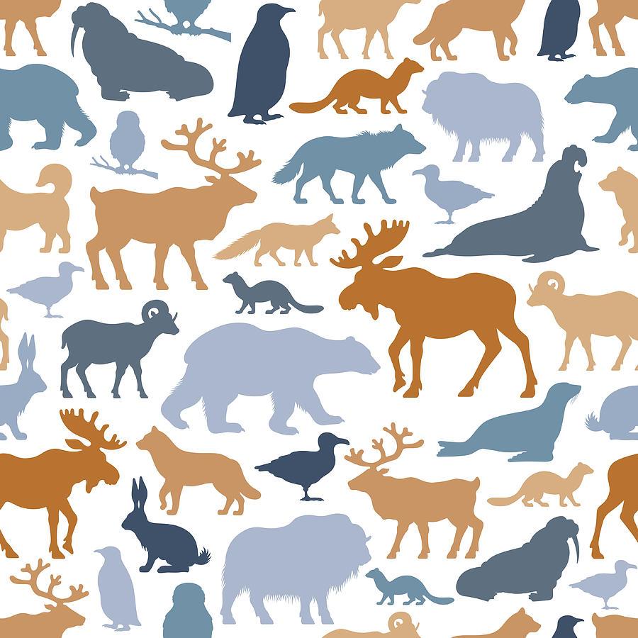 Arctic Animals Pattern Digital Art by Alonzodesign