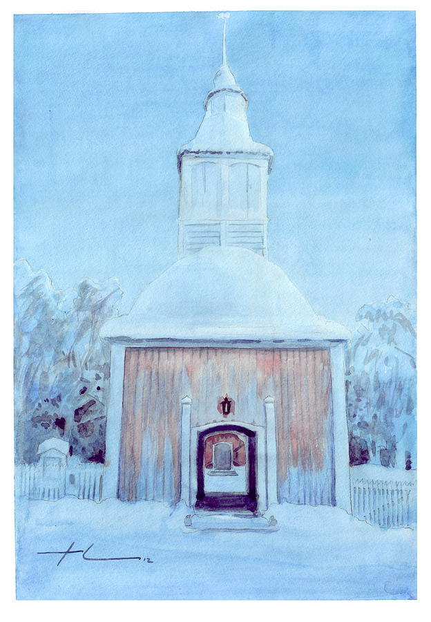 Arctic Church Watercolor Drawing by Mike Theuer
