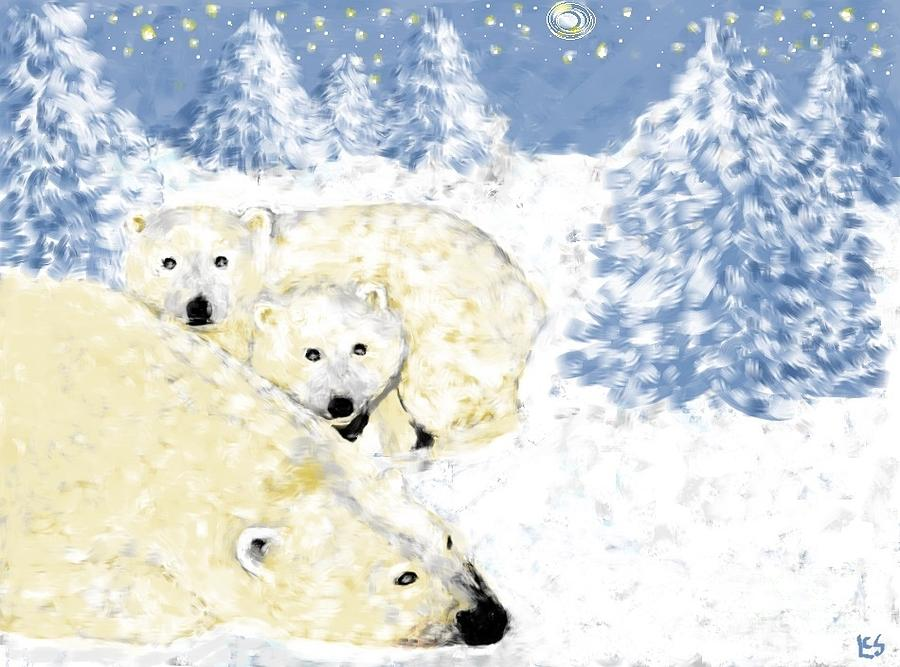 Bears Painting - Arctic Family - Getting Cozy by LCS Art