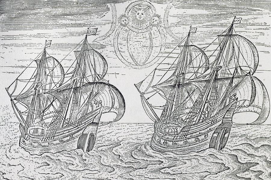 Boat Drawing - Arctic Phenomena From Gerrit De Veer S Description Of His Voyages Amsterdam 1600 by Netherlandish School