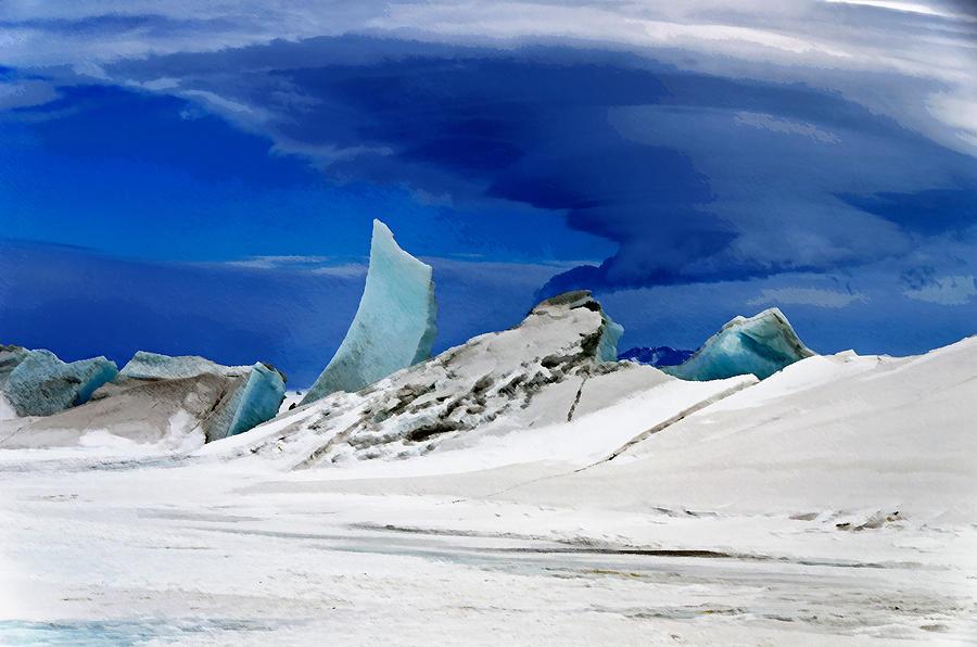 Ice Digital Art - Arctic Pressure Ridge by David Blank