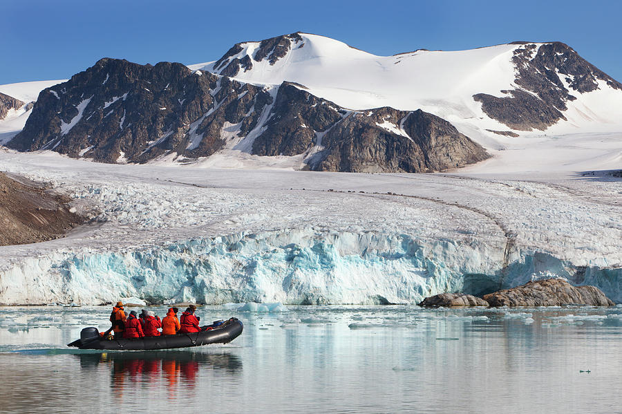 Arctic Tourists Cruising Glacier In Photograph by Anna Henly
