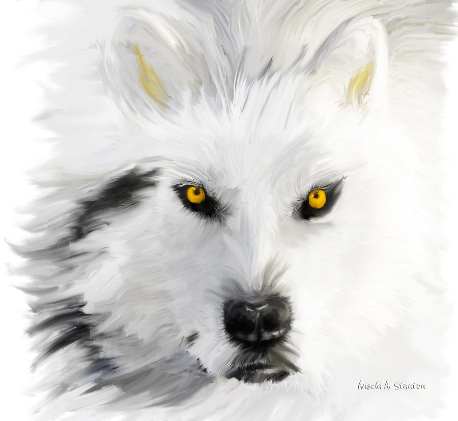 Wolf Painting - Arctic Wolf With Yellow Eyes by Angela A Stanton