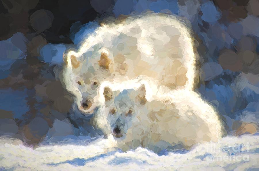 Arctic Photograph - Arctic Wolves - Painterly by Les Palenik