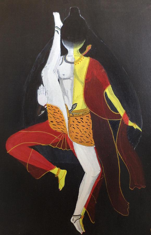 Ardhanarishvara Painting - Ardhanarishwar by Pratyasha Nithin