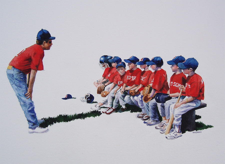 Baseball Players Painting - Are We Ready Yet by Karol Wyckoff