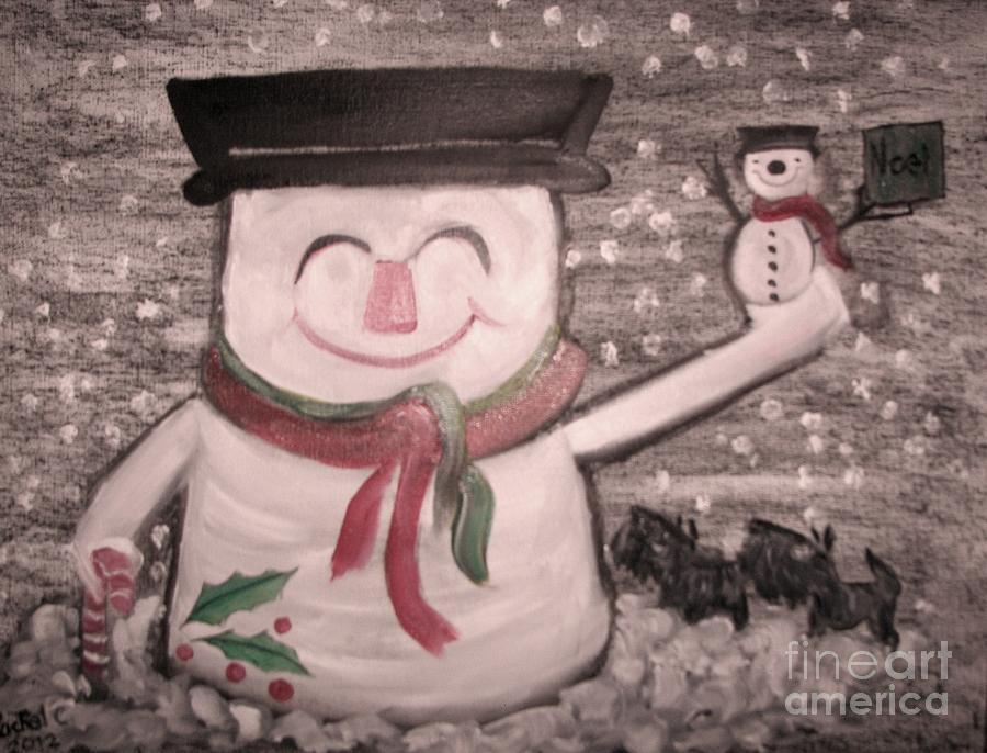 Snowmen Painting - Are You Santa by Rachel Carmichael