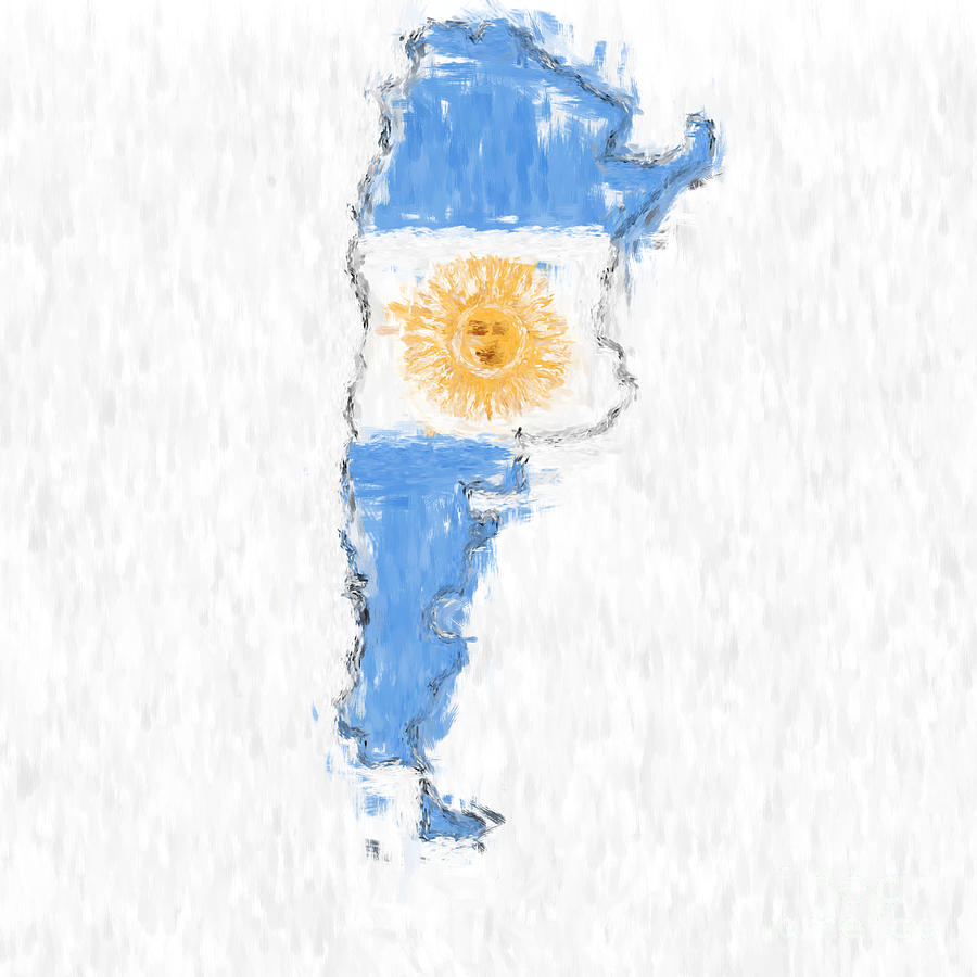 Argentina Painted Flag Map Painting By Antony McAulay - Argentina map to print