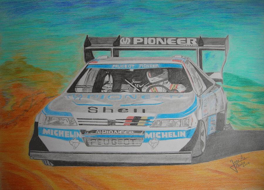 Motor Drawing - Ari Vatanen by Jose Mendez