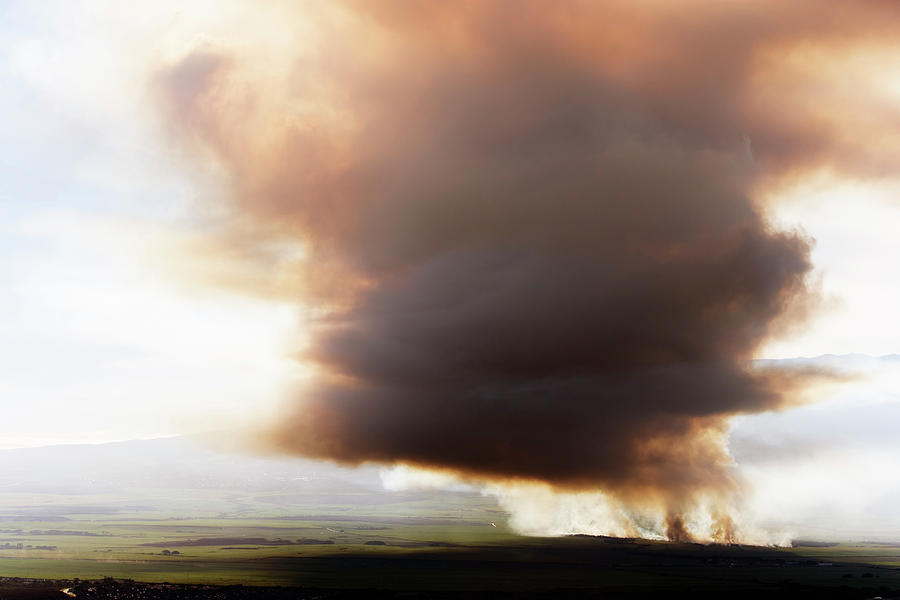 Agriculture Photograph - Ariel View Of Burning Sugar Cane Fields by Ron Koeberer