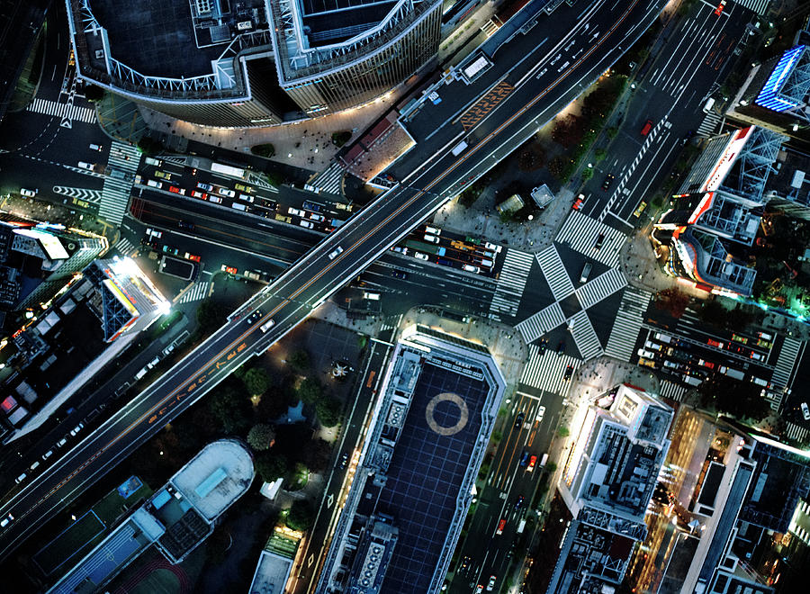 Ariel View Tokyo At Night by Michael H