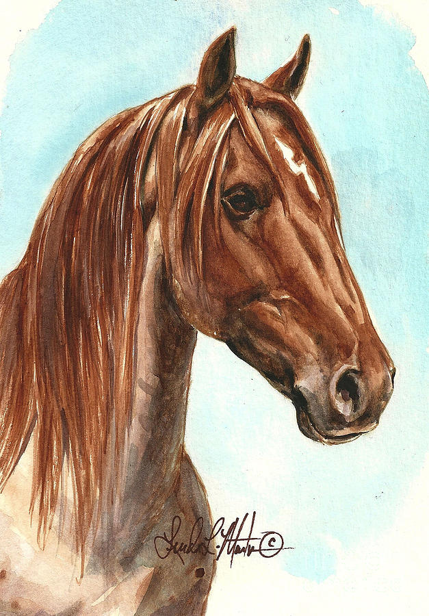 Wild Horse Painting - Aries  by Linda L Martin