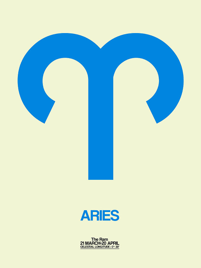 Aries Digital Art - Aries Zodiac Sign Blue by Naxart Studio
