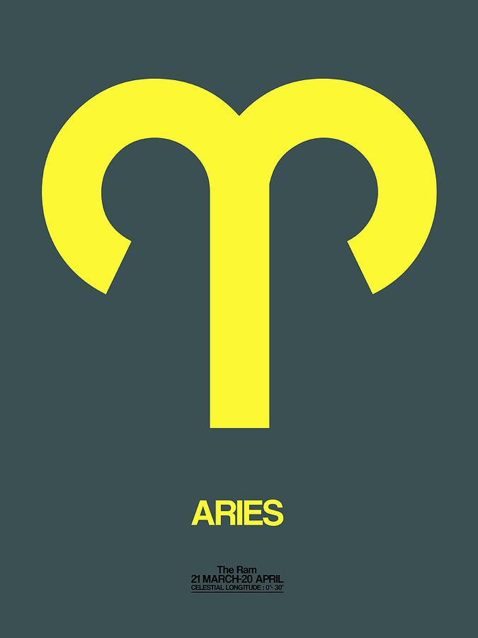 Aries Digital Art - Aries Zodiac Sign Yellow by Naxart Studio