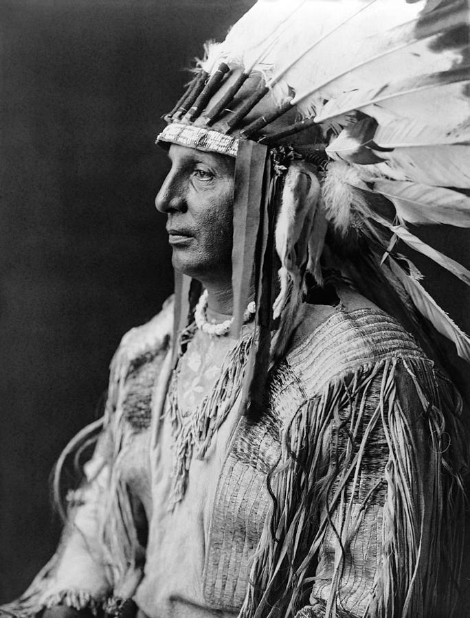 1908 Photograph - Arikara Indian Man circa 1908 by Aged Pixel