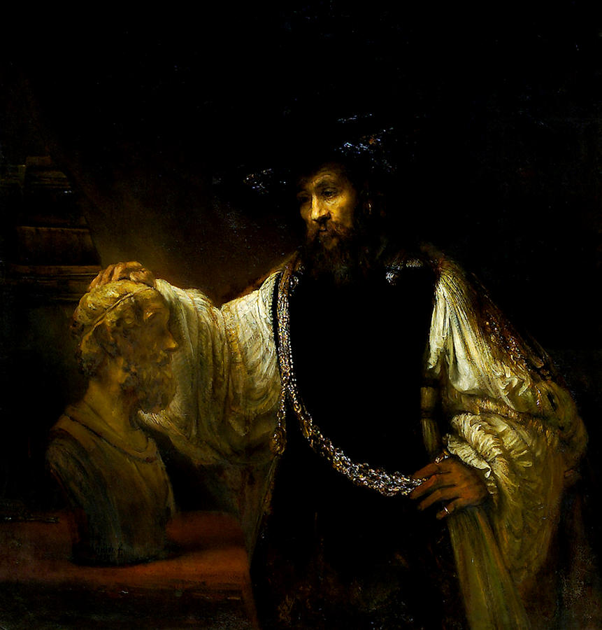 Aristotle Contemplating a Bust of Homer by Rembrandt van Rijn