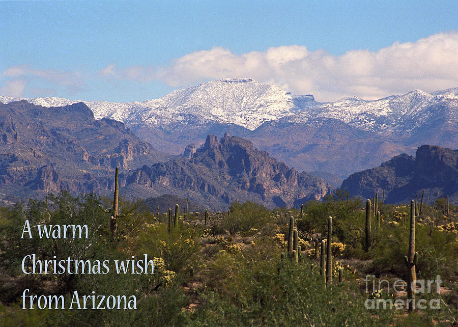 Arizona Christmas Card - Superstitions With Snow Photograph by Kathy ...