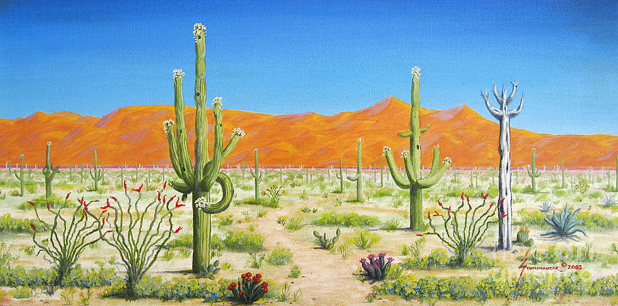Arizona Desert Painting By Jerome Stumphauzer