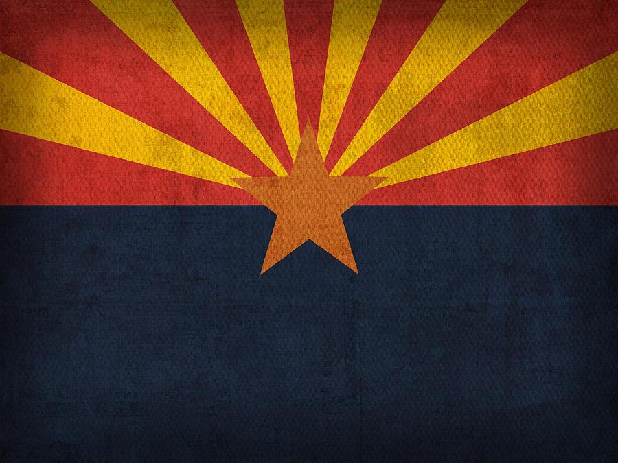 Arizona State Flag Art On Worn Canvas Mixed Media - Arizona State Flag Art On Worn Canvas by Design Turnpike