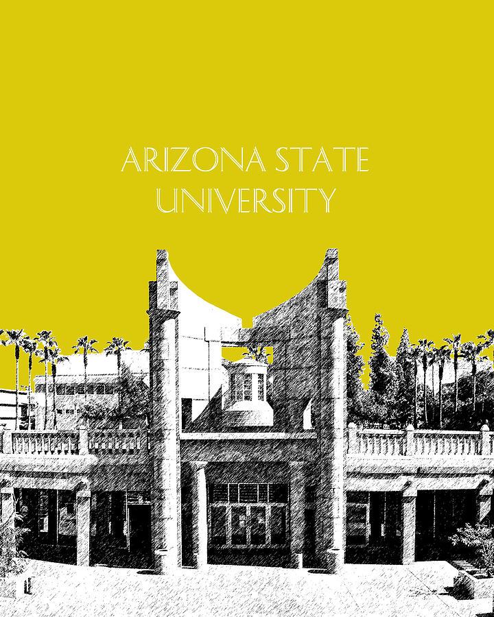 University Digital Art - Arizona State University 2 - Hayden Library - Mustard Yellow by DB Artist