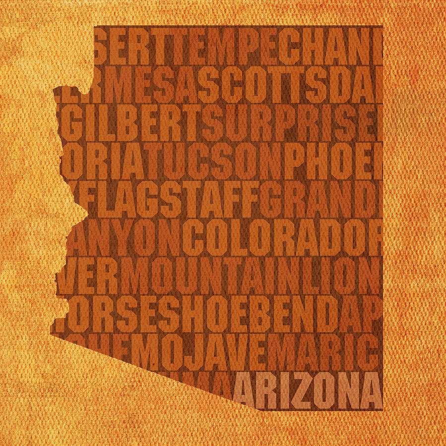 Arizona Word Art State Map On Canvas Mixed Media by Design Turnpike