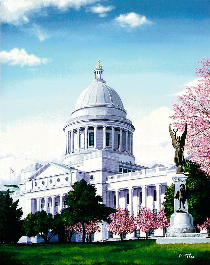 Little Rock Painting - Arkansas Capitol Blossoms by Glenn Pollard