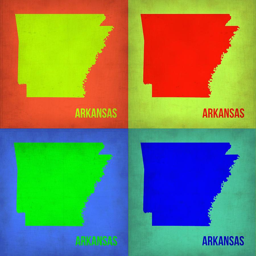 Arkansas Map Painting - Arkansas Pop Art Map 1 by Naxart Studio