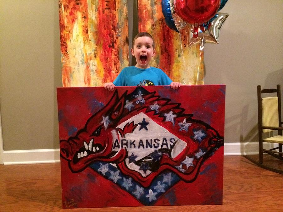Arkansas Razorback And Flag Painting by Lauren Meredith