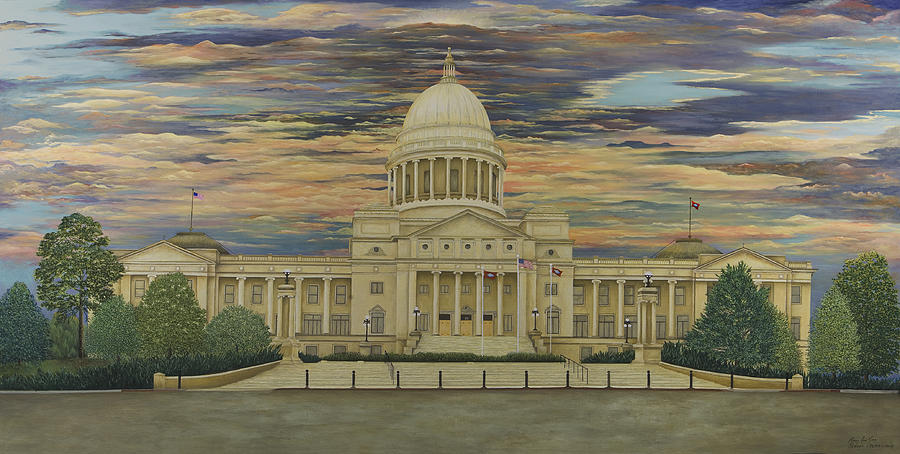 Little Rock Painting - Arkansas State Capitol by Mary Ann King