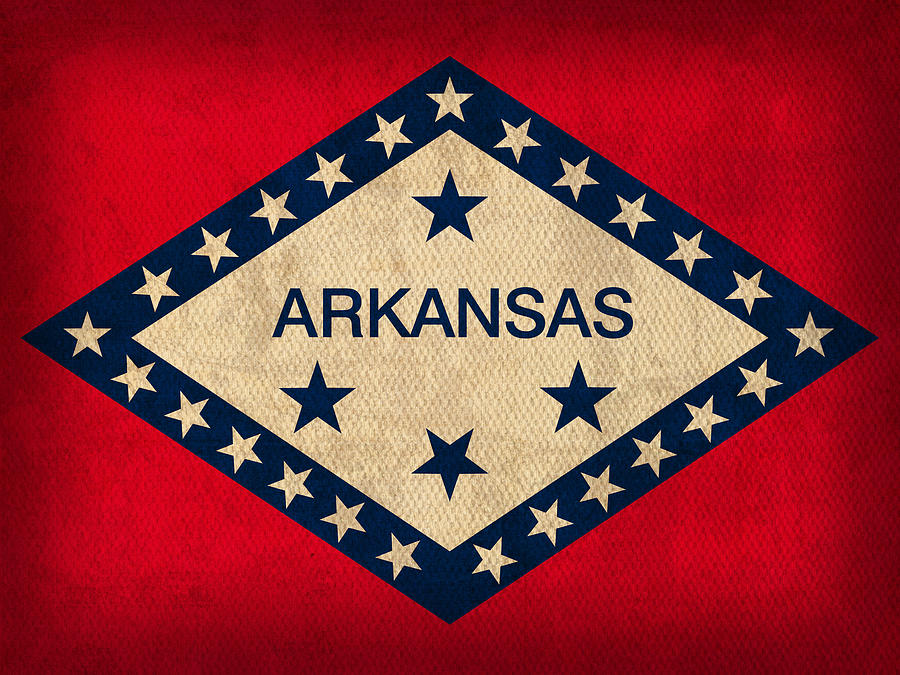 Arkansas State Flag Art On Worn Canvas Mixed Media by Design Turnpike