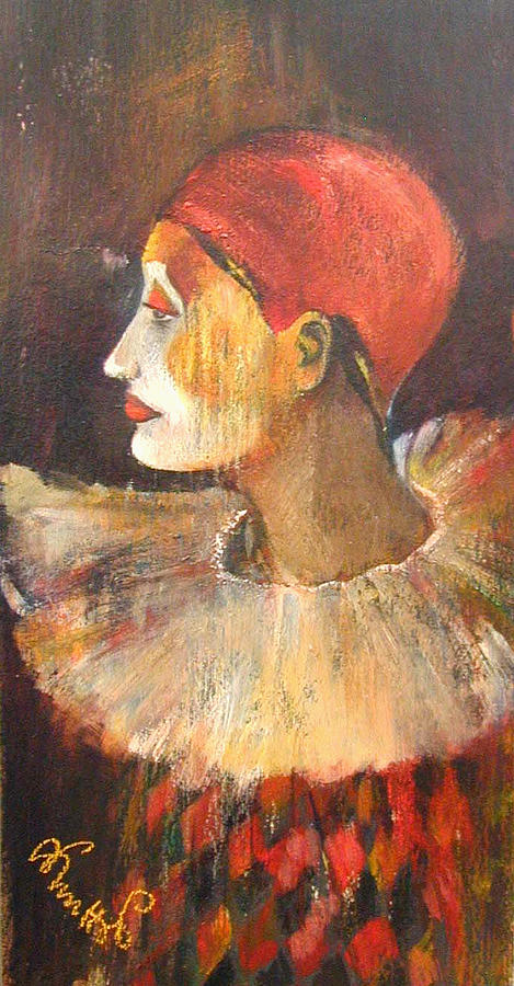 Alicja Knitter Coe Paintings Painting - Arlequin In A Red Hat by Alicja Coe