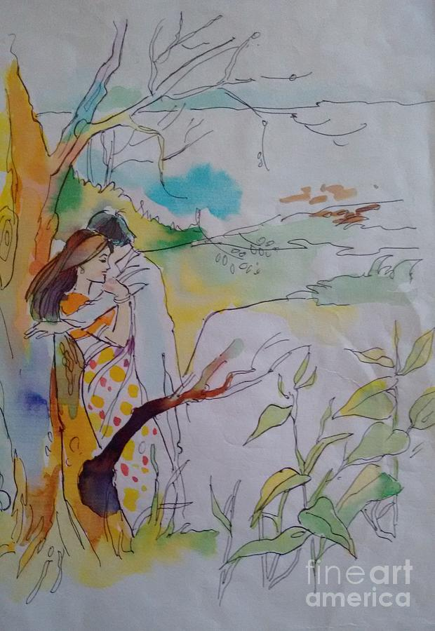 Romance Painting - Arms by Chintaman Rudra