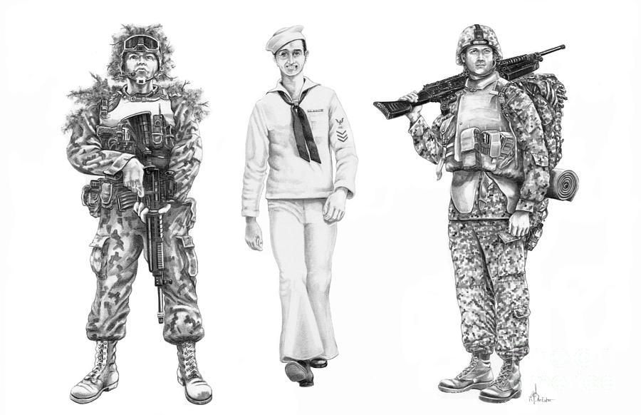 Army Navy Marines Drawing By Murphy Elliott