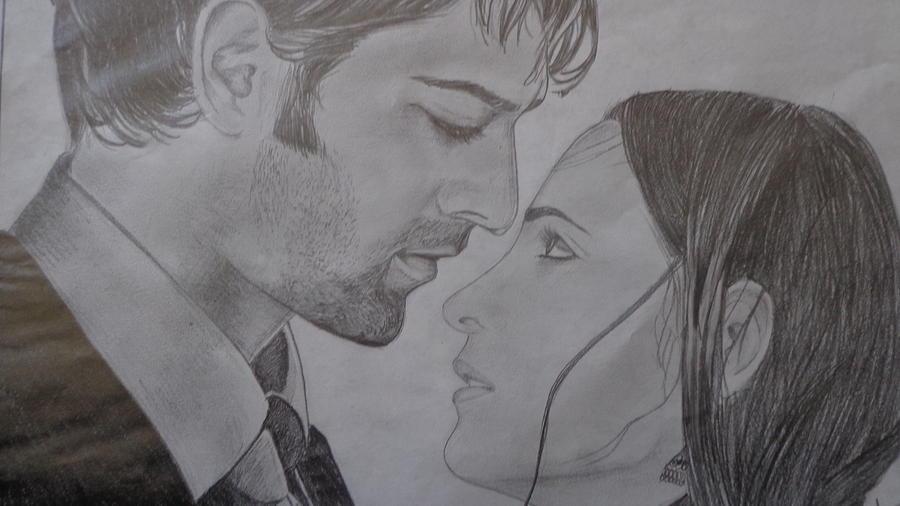 Arnav And Kushi Pencil Sketch Drawing by Anu Swarna