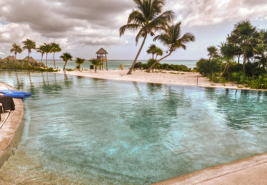 Pool Photograph - Around The Pool-waiting For The Storm by Eti Reid