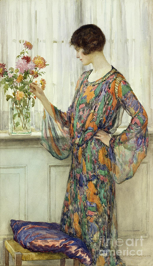 Arranging Flowers Painting By William Henry Margetson