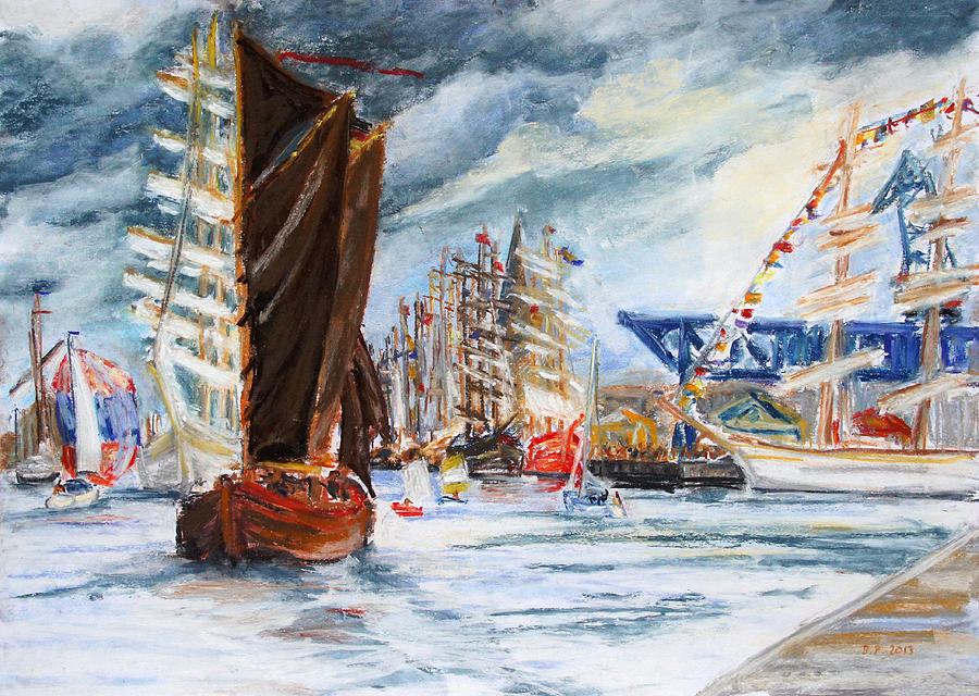 Boat Drawing - Arrival At The Hanse Sail Rostock by Barbara Pommerenke