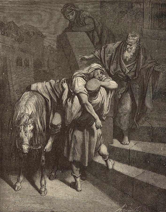 Biblical Drawing - Arrival Of The Samaritan At The Inn by Antique Engravings