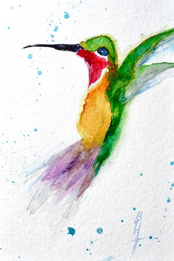 Hummingbird Painting - Arriving by Beverley Harper Tinsley