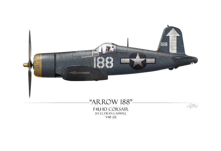 Aviation Painting - Arrow 188 F4u Corsair - White Background by Craig Tinder